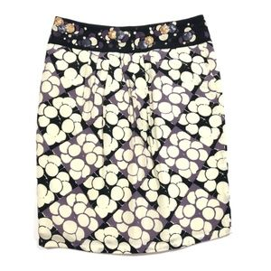 Anthro Floreat Purple Cream White Silk Skirt
